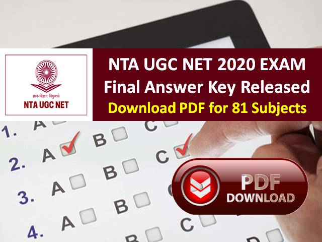 NTA UGC NET 2020 Final Answer Key & Cutoff (%) Released @ugcnet.nta.nic.in: Get Direct Link to Download PDF for 81 NET Subjects, More than 5 Lakh Candidates appeared in the exam