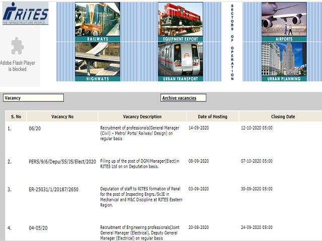 Rail India Technical and Economic Service (RITES) General Manager (Civil) Posts 2020
