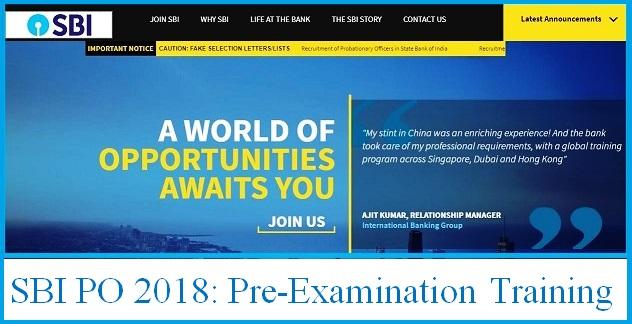 SBI PO Recruitment 2018: Pre-Exam Training Admit Card