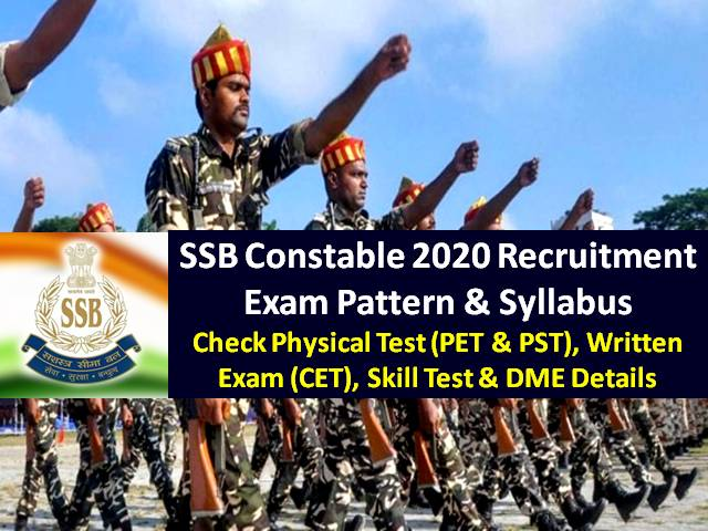 SSB Constable 2020 Recruitment Exam Pattern & Syllabus: Check Physical Test (PET & PST), Written Exam (CET), Skill Test & DME for 1522 SSB Constable Vacancies