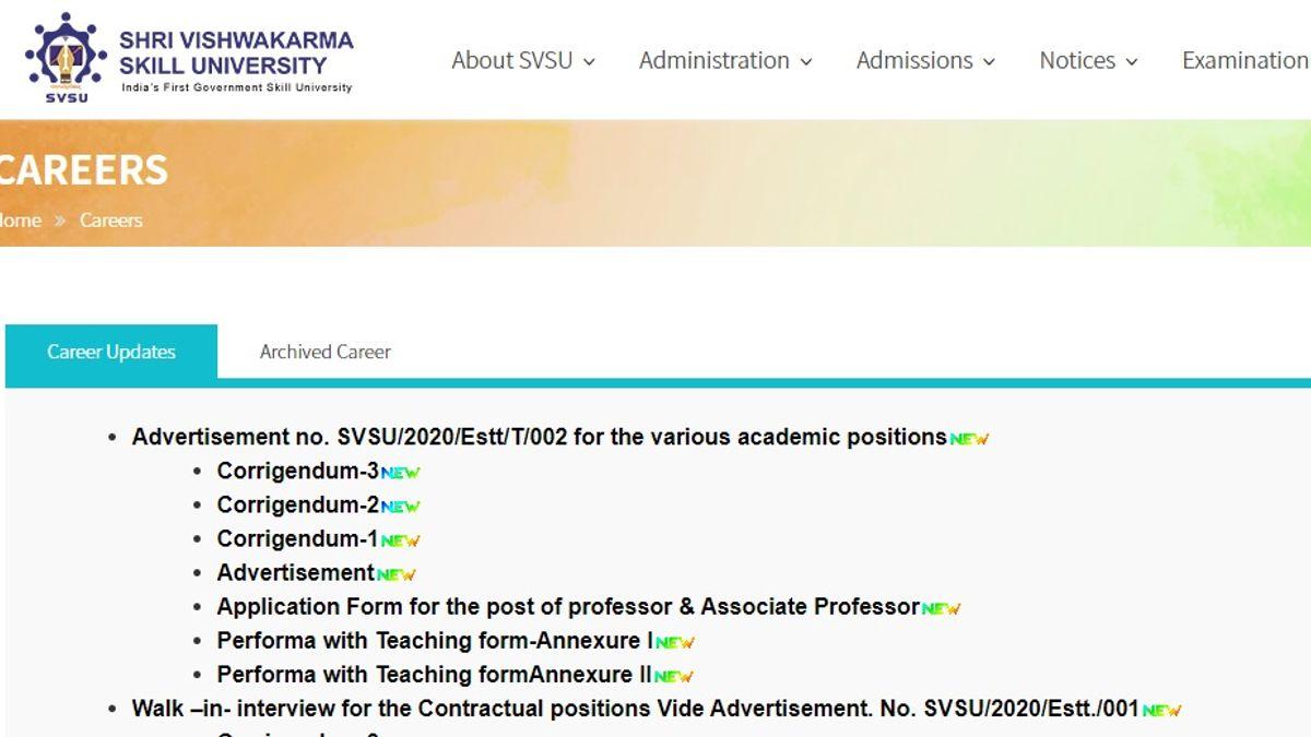 SVSU Recruitment 2020: Apply for 30 Skill Professor and Associate Professor Posts