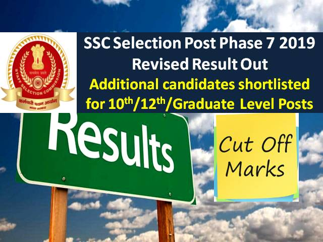 SSC Phase-7 Result 2019 Revised: Additional 1587 Candidates Shortlisted, earlier 18343 candidates qualified for 10th/12th/Graduate Level Posts|Check Cutoff here!