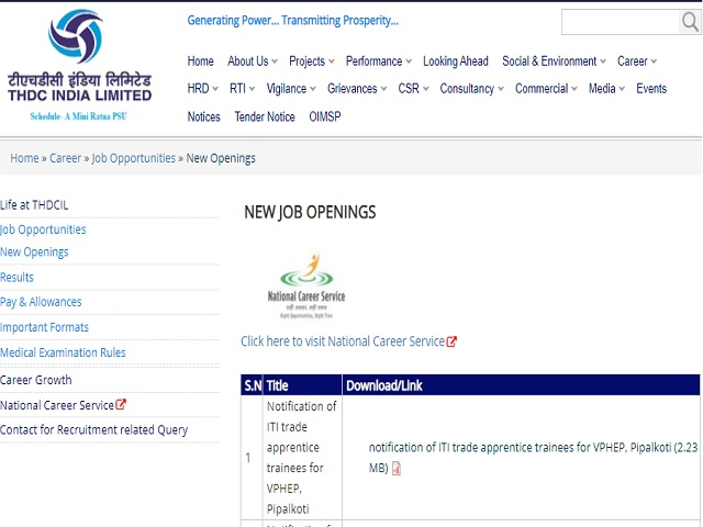 THDC India Limited ITI Trade Apprentice Posts 2020