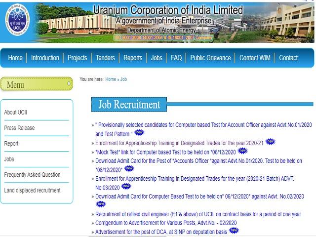 Uranium Corporation of India Limited (UCIL) Trade Apprentices Posts 2020