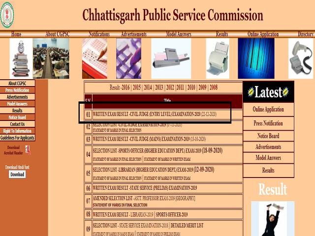 CGPSC Civil Judge Result 2020