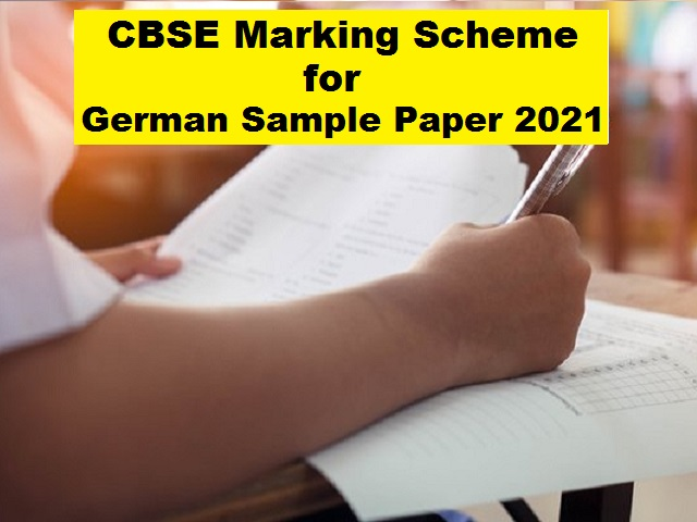 CBSE Class 10 German Marking Scheme for Sample Paper 2021