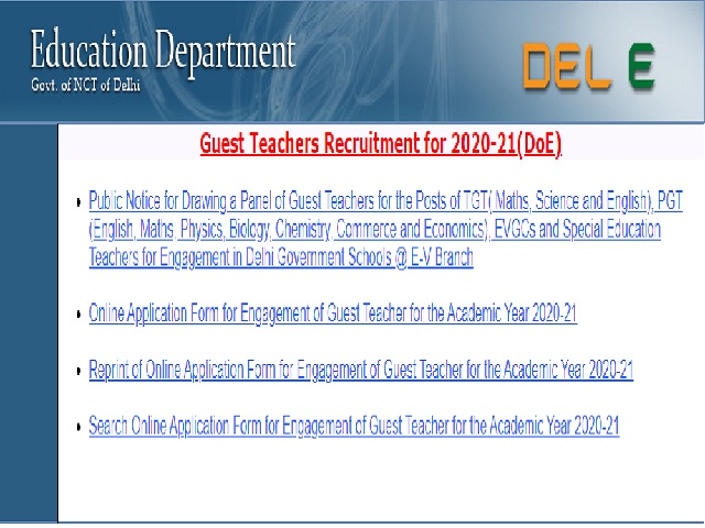 Delhi Govt Teacher Recruitment 2020-21