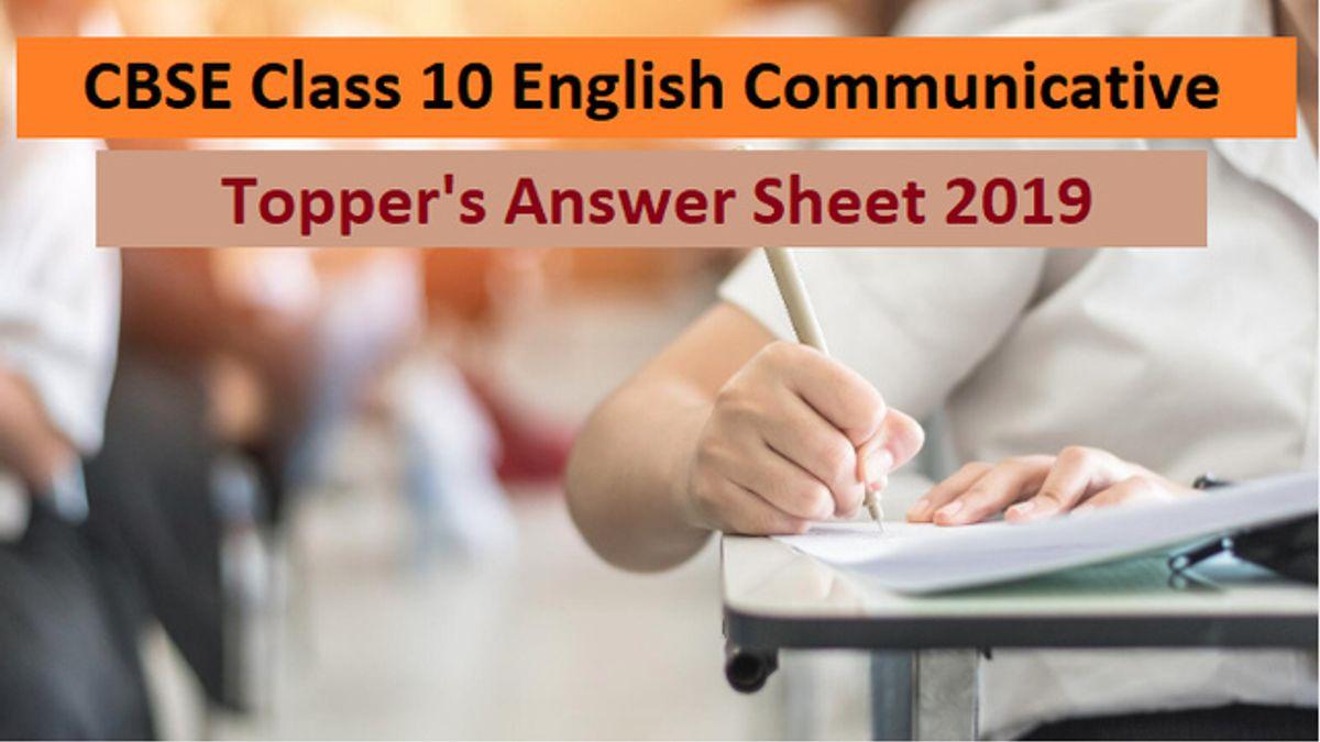 CBSE Class 10 English Communicative Topper Answer Sheet 2019
