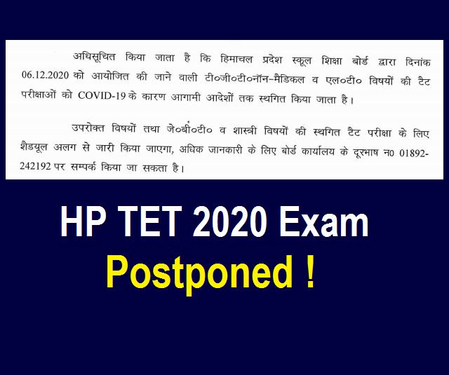 HP TET Exam Postponed 2020