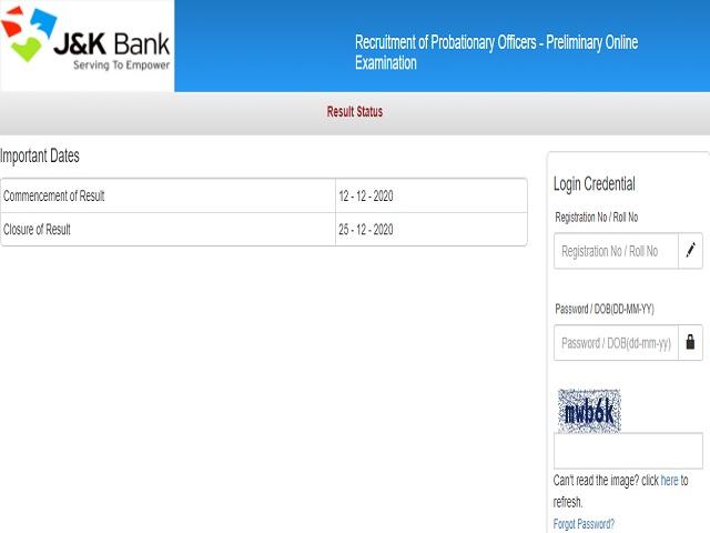 JK Bank PO Prelims Result 2020