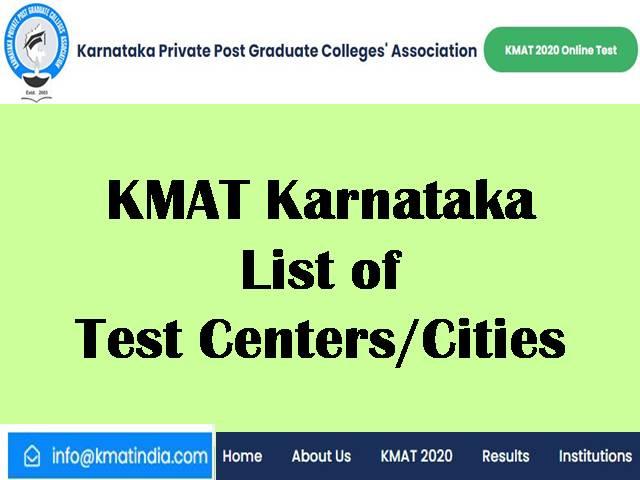 KMAT 2020 Test Centres