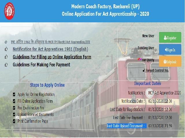 MCF Raebareli Apprentice Recruitment 2020