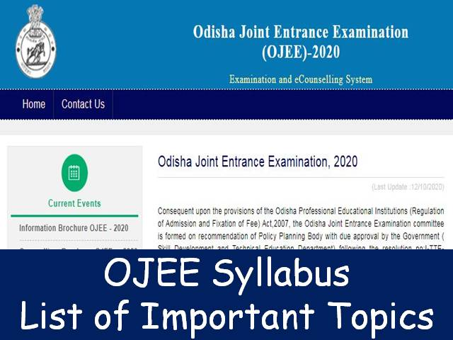 OJEE 2020 Syllabus – Know List of Important topics here