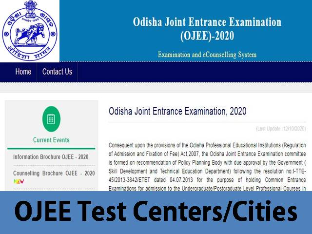 OJEE 2020 Test Centers – List of Exam Centers