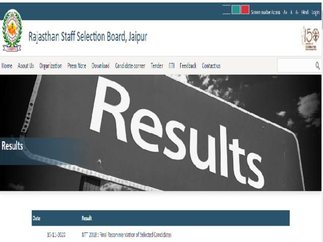 RSMSSB NTT Teacher Final Result 2020