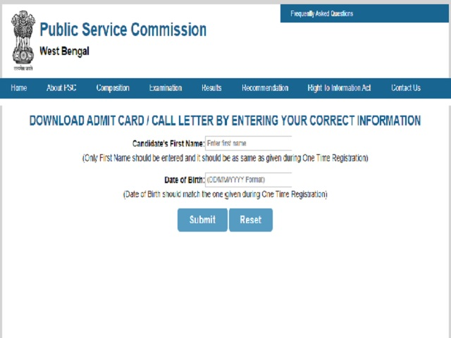 WBPSC Civil Service 2018 Interview Admit Card