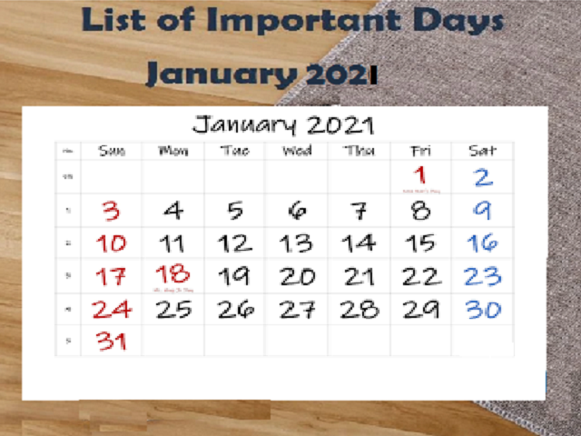 List of Important Days of January 2021