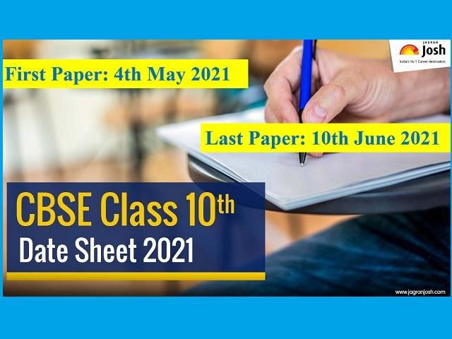 CBSE 10th Board Exam Date Sheet 2021
