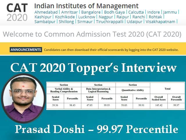 CAT 2020 Topper Prasad Doshi
