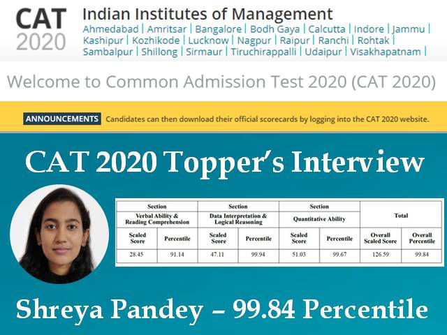 CAT 2020 Topper Interview Shreya Pandey aiming to seek admission in IIM (A, B, or C)
