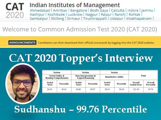 CAT 2020 Topper Interview – Meet Sudanshu Satpathy, says Discipline is the Key to Crack CAT exam