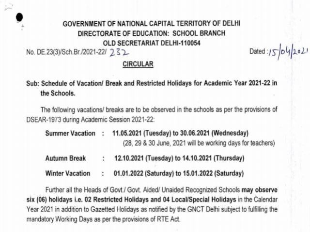 Delhi Schools To Have Summer Vacation Till 30th June Confirms Doe Get Details Here