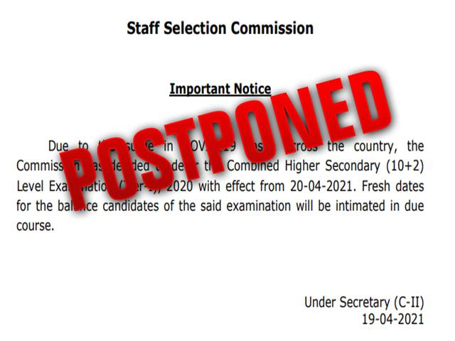 SSC CHSL 2021 Exam Postponed (Official Notification Released @ssc.nic.in): Beware of Fake SSC Twitter Handles