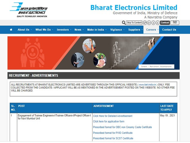 BEL Recruitment 2021: Apply Trainee Engineer, Trainee Officer and Project Officer Posts
