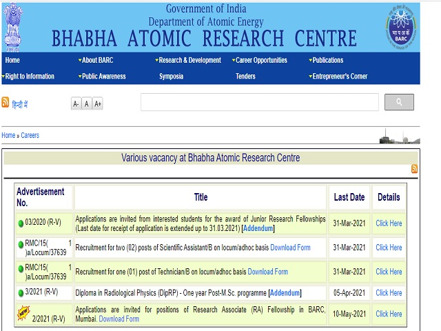 Apply for 31 Research Associate Posts @barc.gov.in