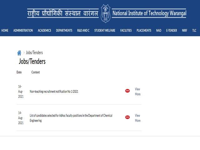 NIT Warangal Recruitment 2021: Apply Senior Medical Officer, Asst Registrar, Asst. Engineer & Other Posts