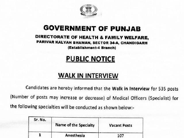 Punjab Health Department Recruitment 2021