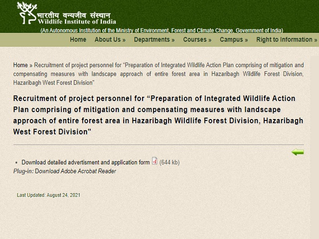 WII Dehradun Recruitment 2021: Apply Project Associate and Project Assistant Posts