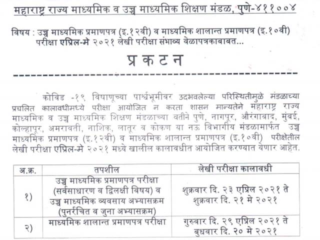 Maharashtra HSC Time Table 2021 Released for Class 12 General and Vocational Streams, Download MSBSHSE 12th Exam 2021 Date Sheet at mahahsscboard.in