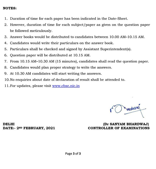 CBSE Class 10 Date Sheet 2021: CBSE 10th Board Exam Time Table 2021 - Page 3