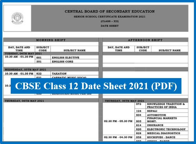 CBSE Class 12 Time Table 2021 @cbse.gov.in