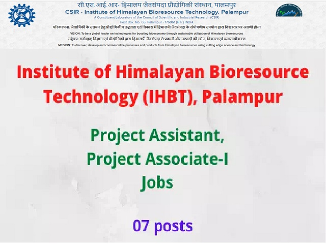 IHBT Recruitment 2021: Apply for Project Assistant & Project Associate-I Posts