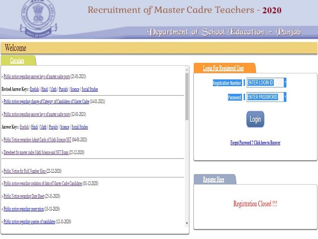 Education Recruitment Board Punjab Master Cadre Result