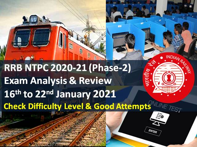 RRB NTPC 2021 Exam Analysis Phase-2 (22nd/21st/20th/19th/ 18th/17th/16th January): Check CBT Difficulty Level & Good Attempts to clear cutoff marks
