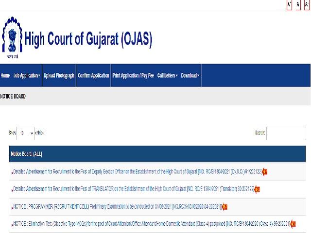 2021年古吉拉特邦高等法院招聘