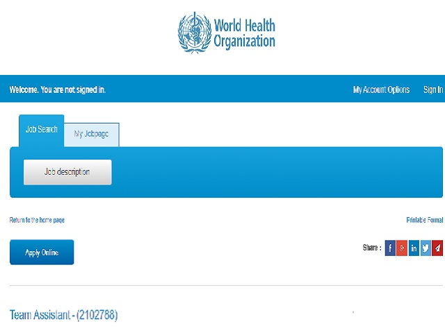 2021年世界卫生组织招聘