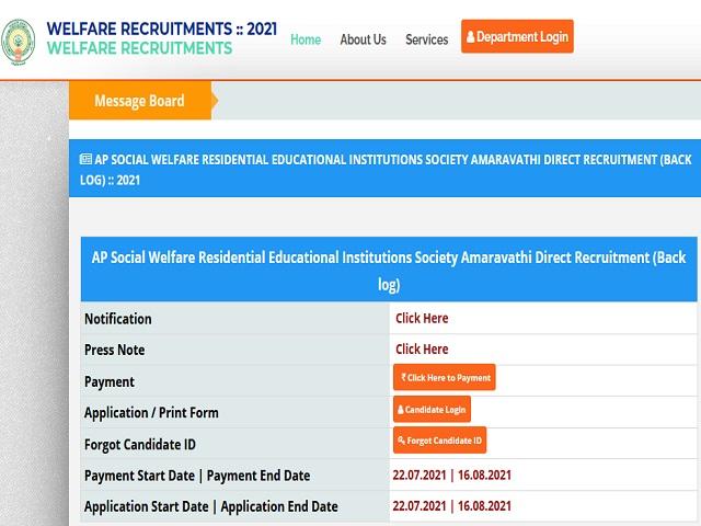 APSWREIS Recruitment 2021