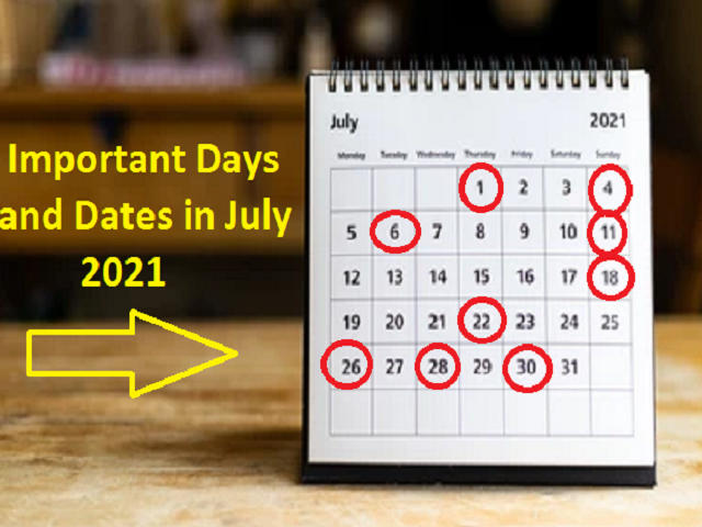 Important Days and Dates in July 2021