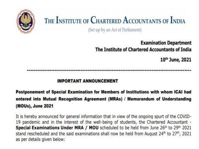 ICAI Special Examinations