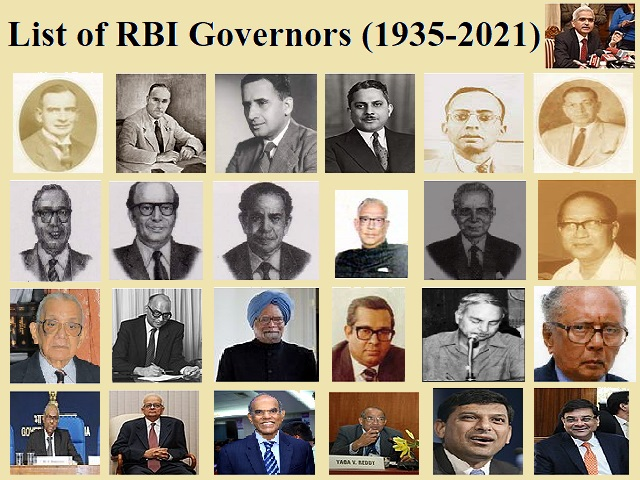 List of Governors of Reserve Bank of India (1935-2021)