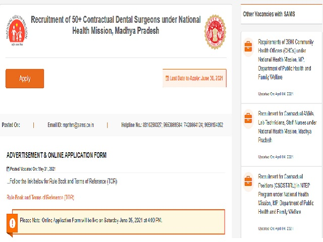 NHM Bhopal Recruitment 2021 Notification Released, 51 Vacancies for Dental Surgeon Post, Apply from 5 June