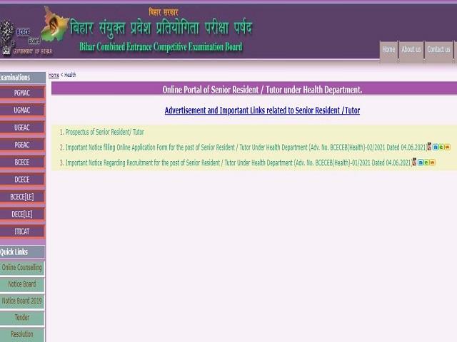 Apply Online for 1797 Sr Resident/Tutor Posts @bceceboard.bihar.gov.in