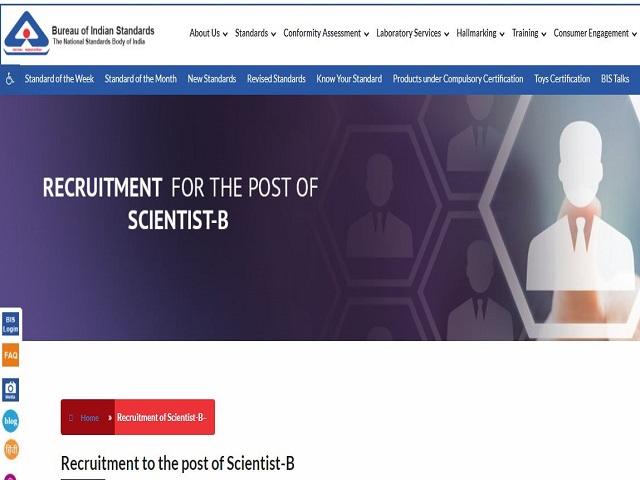BIS Recruitment 2021 for Scientist B Posts, Apply Online @bis.gov.in
