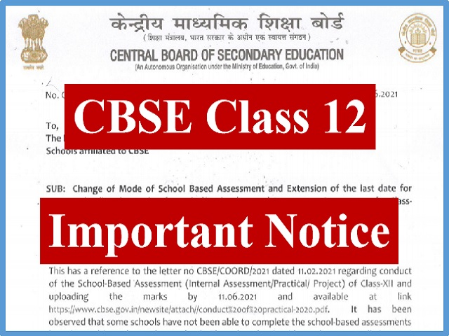 Official Circular Regarding Practical/Project/Internal Assessment Components for Class 12 Exams