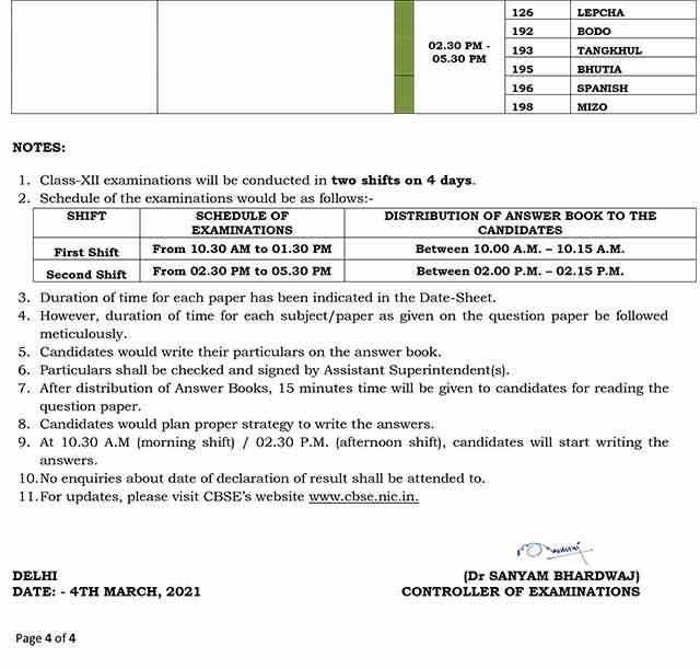Revised CBSE Date Sheet 2021: 12th - 4