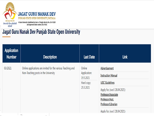 Jagat Guru Nanak Dev University Recruitment 2021: Apply Online for 20 Faculty and Non-Teaching Posts before 19 May